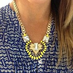 Yellow & Glass Stone Statement Necklace | Norah Pendant | Stella & Dot. One of my favorites. The yellow looks good with everything!