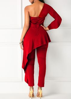 One Sleeve Ruffle Trim Red Jumpsuit modlily USD 31 81 Day Jumpsuits, Jumpsuits For Women, Embellished Jumpsuit, Moda Formal, One Shoulder Jumpsuit, Grey Long Sleeve Tops, Red Jumpsuit, Jumpsuit Pattern, African Fashion