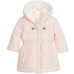 Chloé Baby Girls Pink Hooded Synthetic Fur Lined Coat at Childrensalon.com