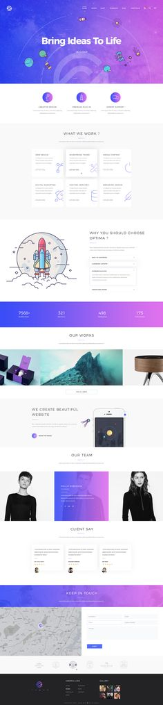 Optima – Creative PSD Template is design which is ideal for Creative, Corporate & Portfolio. The design is very elegant and modern, and also very easy to customize #PSD #Creative #Template #Minimal #Business