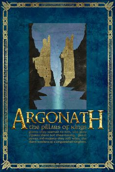 The Argonath Travel Poster from The Lord Of the Rings and the Hobbit - Tolkien