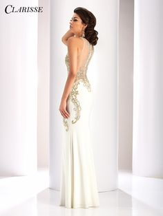9761eb7d397 CLARISSE Prom 2017 White Jersey Dress Style 4853. Exquisite Clarisse jersey  dress