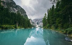 Scarica sfondi Montagna, lago, foresta, montagna, paesaggio, blu lago glaciale, Svizzera