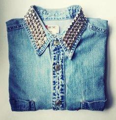 studded denim shirt