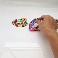 Fun rainbow bead bracelets. These 3 stranded layer bracelets create instant boho stacking bracelets.#jewellery #bracelet #colourful #beaded #boho #colours #rainbow #beads #summer #fun Seashell Necklace, Beaded Necklace, Beaded Bracelets, Stacking Bracelets, Layered Bracelets, New Jewellery Design, Polymer Beads, Lucky Ladies, Black Gift Boxes