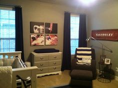 Rustic vintage boys nursery, repurposed changing table.  Painted and added silver handles.  Graphic wall art using a real picture.  Glider from lone star baby, vintage 1952 Chevrolet pick up tailgate hung on wall to honor my husbands first car that he and his dad fixed up. Side table from Target, lamp from Ikea.