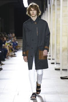 Hermes Menswear Spring Summer 2017 Paris.. Coat with leather trim