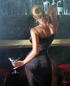 Woman with glass of cocktail. Art, painting.
