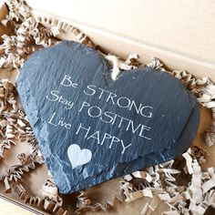 We created this lovely personalised slate heart on this day one year ago, but we couldn't help but think of how important the message is in our lives today.  Sending lots of strength, positivity and happiness to you all ❤️  Personalised Welsh slate home decor sign, handmade in South Wales