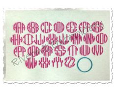 Small Mini Thin Circle Monogram  Machine Embroidery Font Monogram Alphabet