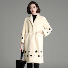 2016 Womens'  Winter fur coat personality cute star pattern print fur coat women long sleeve warm wool coat fashion girl #Affiliate