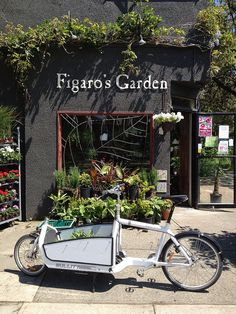 Cargo bike at the flower shop, Vancouver, British Columbia, Canada