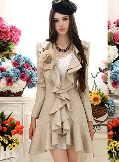 #Beige #Overcoats #Double High Quality Gorgeous Beige Double Falbala Hem Slim Warm Woolen Overcoat