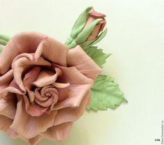 Купить Цветы из кожи. Брошь Роза с бутоном. - бледно-розовый, lazarevaliliya, flowers, leather flower