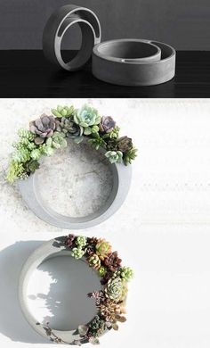 Handmade Concrete Succulent Planter Flower Pot