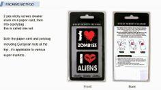 Sticky Cleaner I love zombie & I love alien alien 2-in-1 Microfiber Screen Cleaner Sticker for #iphone #microfiber #tech #gift #christmas #x-mas
