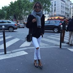 Blogger Style l Julie Sariñana (Sincerely Jules): fuzzy cardigan x black tee x white skinny jeans x aquazurra lace-up ballerinas x grey scarf