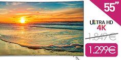 """¡OFERTÓN! Smart TV Samsung de 55"""" Curvo 4K por 1.299€ ¡550€ de ahorro!  ¿Buscas un Smart TVbarato? Consigue aquí la Samsung de 55″ Curvo con 4K Si estabas esperando ha encontrar una buena oferta para cambiarte tu viejo televisor por una mucho mejor pon mucha atención a tu pantalla porque la siguiente oferta te podría interesar. Hemos encontrado en la web de..."""