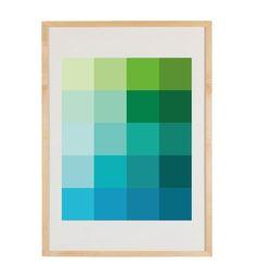 Shades Dew Art Print - Pantone Color Blocks of Mint, Green, Aqua. $24,00, via Etsy.
