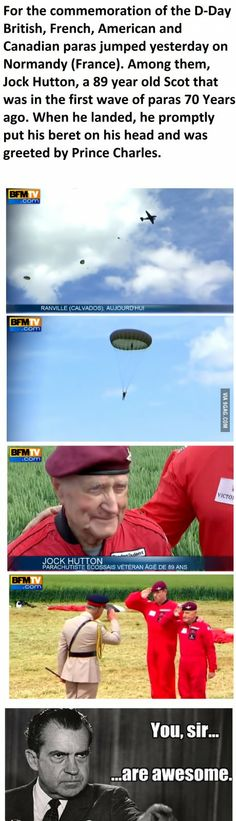 89 years old and still able to jump from a plane ! You sir have all my respect !