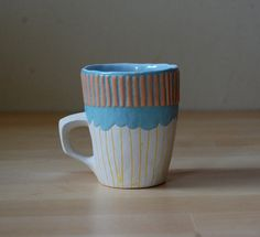 Turquoise, Canary, Tangerine Espresso, Coffee, Chocolate, Tea Circus Demitasse Cup or Mug