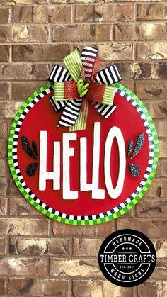 Letter Door Hangers, Halloween Door Decorations, Home Living, Living Rooms, Front Door Decor, Summer Crafts, Summer Wreath, Porch Decorating, Wood Crafts