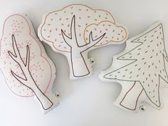 Woodland decor | tree shaped pillows | hand embroidered