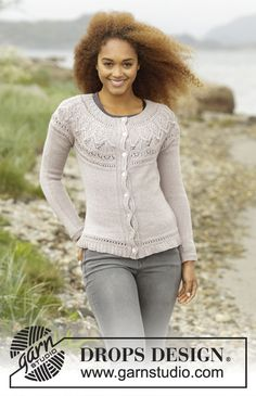 Crystal Bright Cardigan with round yoke and textured patterns by DROPS Design. Free knitting pattern