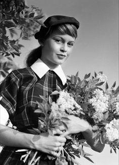 Brigitte Bardot in her first film, 'Le Trou Normand', 1952.
