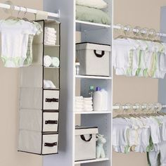Delta Children Nursery Storage 48 Piece Set - Easy Storage/Organization Solution - Keeps Bedroom, Nursery & Closet Clean, Dove Grey Baby Storage, Nursery Storage, Nursery Organization, Storage Sets, Closet Storage, Closet Organization, Closet Dividers, Organization Ideas, Closet Rod