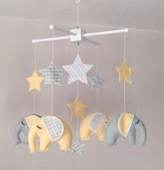 Elephant and stars baby crib mobile. An ideal gift for a new babys nursery or for room decor in an older childs bedroom.    This mobile consists of