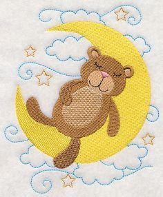 Sleepy Teddy Bear on Moon design (L3375) from www.Emblibrary.com