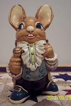 Pendelfin Casanova Green  hat stoneware figurine rabbit Bunny w// Box