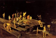 """42kids"" by George Bellows, 1907, depicting boys swimming in the East River"