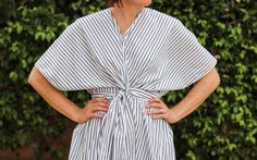 This versatile wardrobe piece can be worn with the belt inside, as a swim suit coverup, or tie it up tightly and wear it out for date night. Simple DIY.