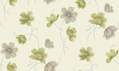 Layla Motif Green (860701) - Arthouse Wallpapers - A pretty all-over floral design with green flowers on a cream blown vinyl textured background. Background available on its own. Please request sample for true colour match.