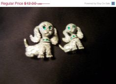 Vintage Silver and Rhinestone Dog Pins Signed by JewelsAndMyGirls3, $7.20