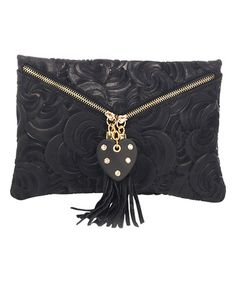 Another great find on #zulily! Black Leather Swirl-Embossed Clutch #zulilyfinds