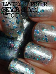 """@TawdryTerrier """"Beach Glass Bitch"""" (SOLD OUT) in the shade - check out our available polishes at https://www.etsy.com/shop/TawdryTerrier #nailpolish #indienailpolish #tawdryterrier"""