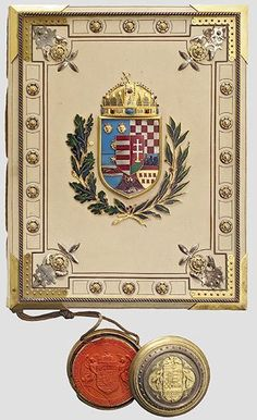 Hungarian Grant of Nobility and of Arms to Antalt Kiss, 22 March [ Note spiffy red seal. Hungarian Tattoo, Hungary History, Kaiser Franz, Holy Roman Empire, European History, Medieval Art, Crests, My Heritage, Wax Seals