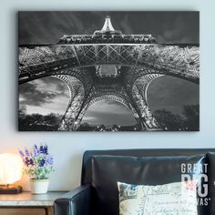 """Want to display your Parisian love in a way that stands out from the rest? How about this unusual underneath shot of """"Paris Eiffel Tower"""" by Scott Stulberg. Check it out at GreatBIGCanvas.com."""