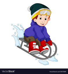 Cute boy sledding in snow Royalty Free Vector Image Cute Hippo, Cute Sloth, Fish Vector, Cat Vector, Cute Wild Animals, Cute Funny Animals, Sheep Vector, Snow Vector, Fruit Cartoon