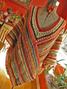 Crochet poncho by hippiehen