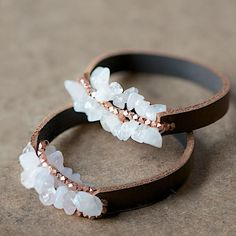DIY leather and crystal bracelets would make a lovely gift.