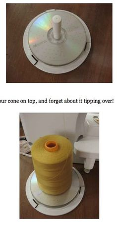 DIY sewing trick~ How to make a stand for those large Cone Threads. Here's the link: http://blog.ajpadilla.com/2010/09/11/how-to-make-your-own-really-cheap-cone-thread-stand/