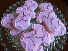 Pink, cherry blossom, onesie cookies!