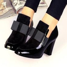 Otoño 2016 Diseñador de la Marca Mujeres Del alto talón de Charol Mujer Botines Zapatos Slip Negro Ladies Bowtie Para mujeres(China (Mainland))