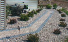 Paver walkway and landscaping Paver Walkway, Landscaping, Sidewalk, Side Walkway, Yard Landscaping, Walkway, Landscape Architecture, Garden Design, Walkways