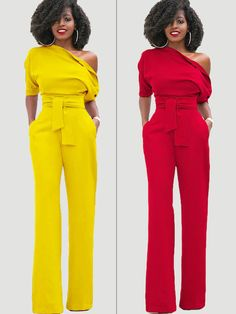 Be the perfect hostess in the Inclined Shoulder Plain High-Waist Lace-Up Slim Jumpsuit! Look Fashion, Autumn Fashion, Womens Fashion, Fashion Trends, Party Fashion, Jumpsuit Elegante, Party Looks, African Dress, Mode Style