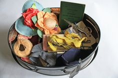 Vintage Sewing Tin Basket with Handle by previous on Etsy